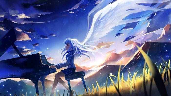 piano, angel beats, anime girls, anime, Tachibana Kanade, angel, manga