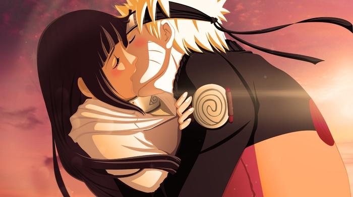 couple, anime, Uzumaki Naruto, digital art, kissing, Hyuuga Hinata, Naruto Shippuuden