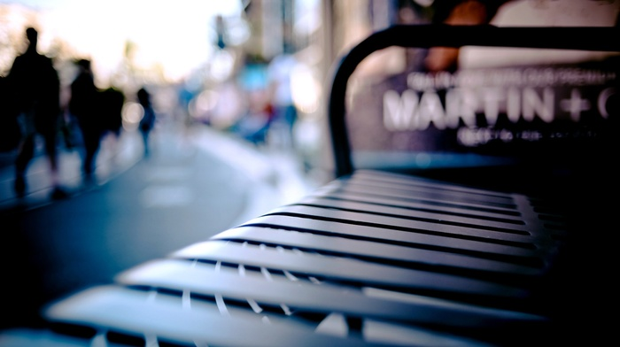 cityscape, blurred, bench, depth of field