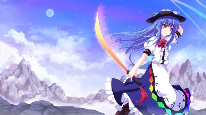 katana, blue hair, anime girls, touhou, red eyes, Hinanawi Tenshi