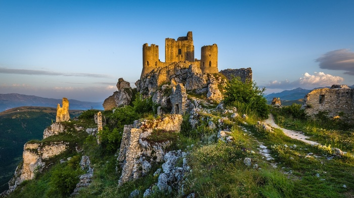 ruin, clouds, morning, landscape, sunrise, fortress, Italy, grass, mountain, history, nature