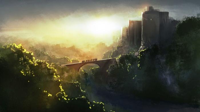 artwork, fantasy art, bridge, painting, castle, sunlight