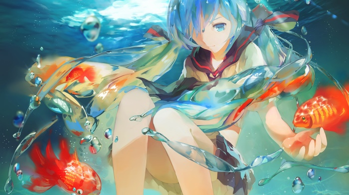 fish, Hatsune Miku, underwater, bubbles, Bottle Miku, anime, Vocaloid