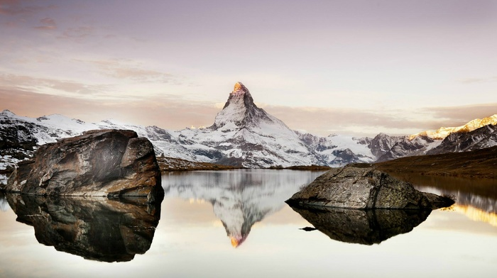 clouds, snow, hill, nature, landscape, water, mountain, Switzerland, lake, rock, Matterhorn, reflection, sunlight