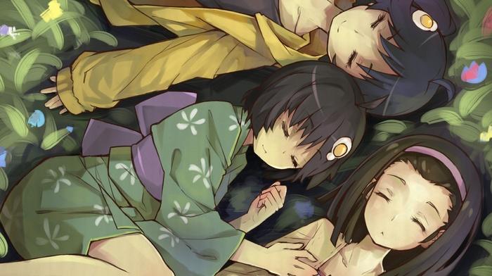 anime girls, Sengoku Nadeko, grass, kimono, Araragi Tsukihi