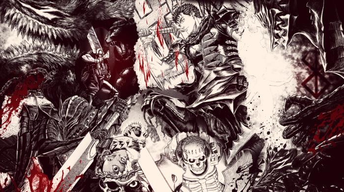 fantasy armor, manga, eyes, creature, Skull Knight, Guts, blood, Berserk, knife, anime, blood spatter
