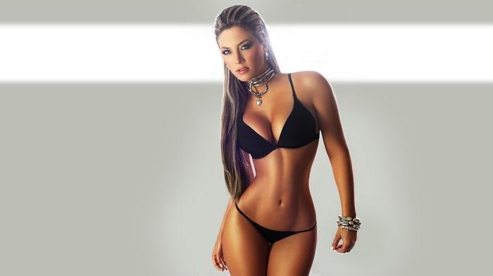 tanned, Daniela Tamayo, model, jewelry, sensual gaze, curvy girl, long hair, brunette, black panties, simple background, flat belly, panties, cleavage, underwear, necklace, highlights, bra, girl, boobs, looking at viewer
