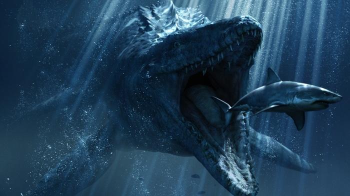 digital art, crocodiles, sea, underwater, teeth, Jurassic World, sun rays, dinosaurs, shark, blue, eating, drawing, bubbles, creature
