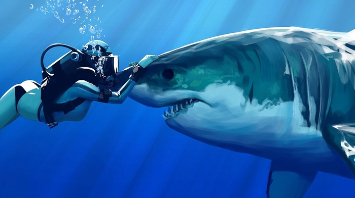 Great White Shark, underwater, sun rays, girl, blue, sea, digital art, shark, drawing, bubbles, teeth, divers