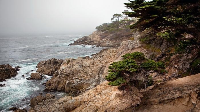 waves, landscape, cliff, mist, sea, HDR, nature
