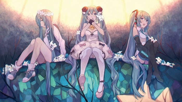 anime girls, twintails, long hair, thigh, highs, Hatsune Miku, Vocaloid, flowers