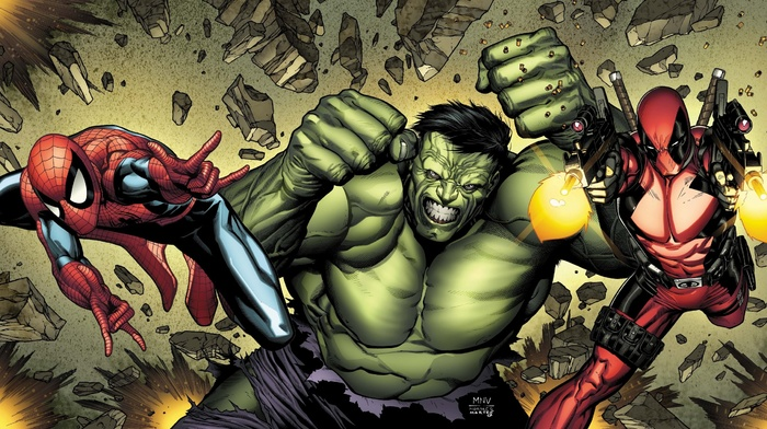 Hulk, Marvel Comics, spider, man, Deadpool