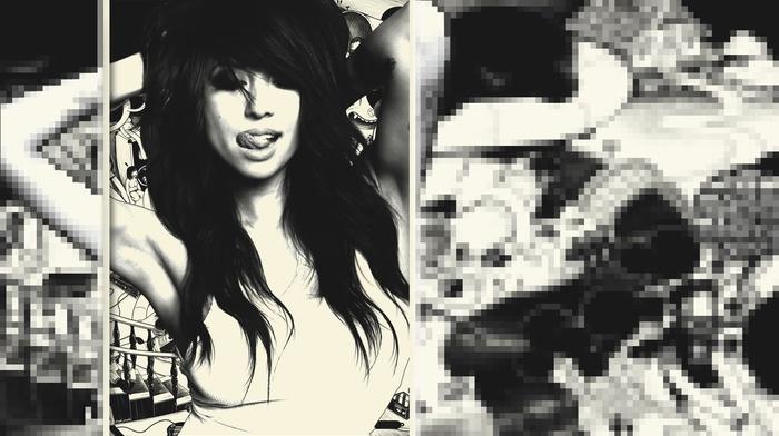 monochrome, pixel art, model, pixelated, pixels