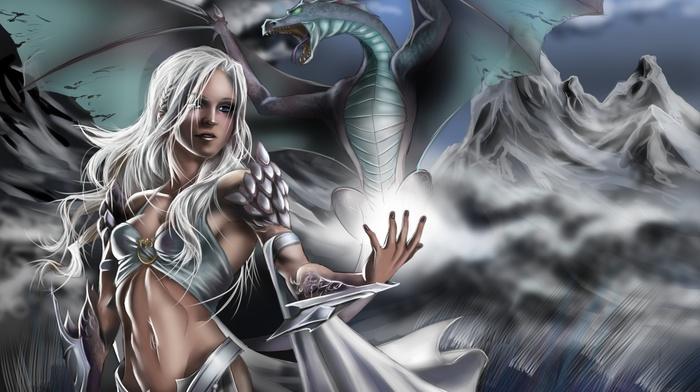 fantasy art, dragon, Daenerys Targaryen, Game of Thrones