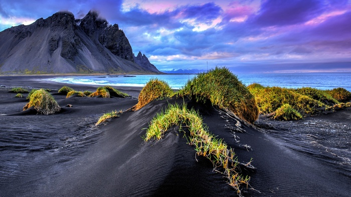 black sand, waves, clouds, sea, landscape, Iceland, nature, beach, grass, cliff, mountain