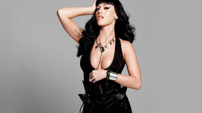 gray background, cleavage, singer, brunette, Katy Perry, tattoo