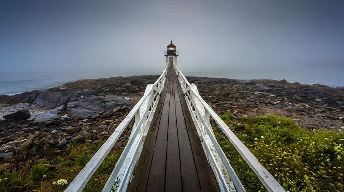lighthouse, water, landscape, rock, wooden surface, sea, fisheye lens, stones, pier, nature, mist, plants