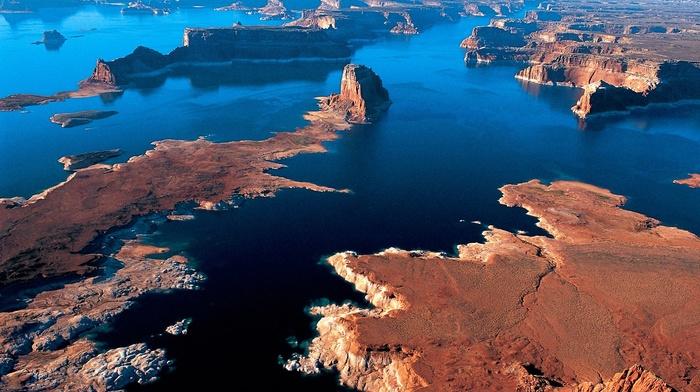 water, Arizona, aerial view, lake, landscape, cliff, desert, nature, sunset