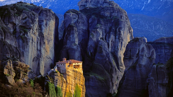 Greece, landscape, nature, sunlight, cliff, mountain, monastery, rock