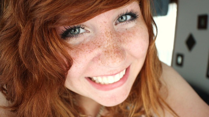 long hair, blue eyes, face, gray eyes, freckles, girl, model, smiling, looking at viewer, portrait, redhead