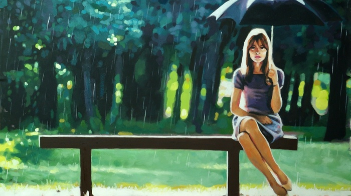 rain, legs, bench, long hair, artwork, girl, brunette, model, trees, umbrella, girl outdoors, sitting, painting, looking at viewer