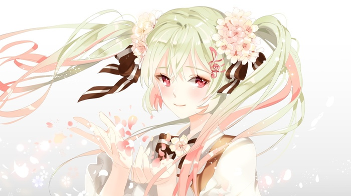 long hair, flower in hair, anime girls, Hatsune Miku, ribbon, anime, Vocaloid, flower petals, twintails