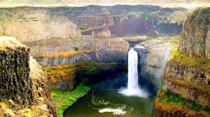 cliff, nature, Palouse Falls, summer, waterfall, erosion, Washington state, landscape, grass