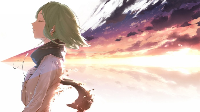 green hair, Vocaloid, scarf, hand on heart, headphones, Megpoid Gumi, anime girls, closed eyes, anime, sunrise, smiling