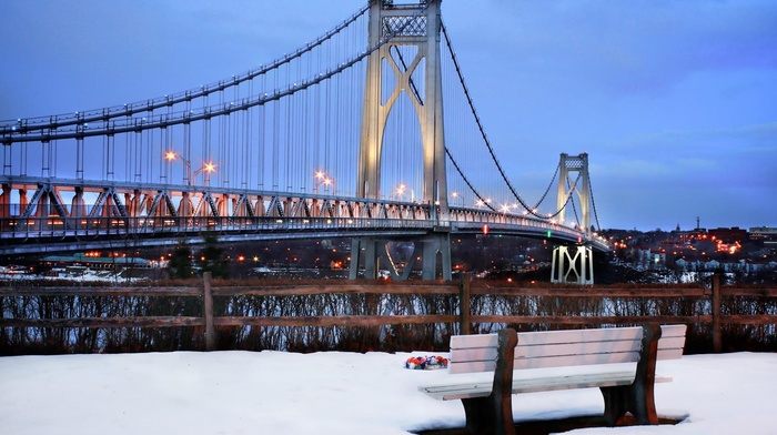 New York City, snow, city, bench, bridge