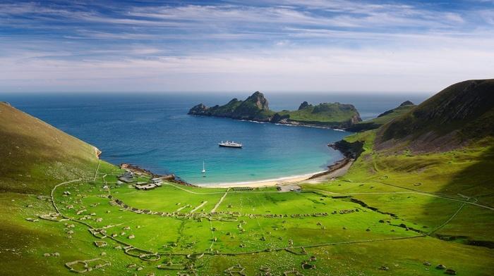 UK, blue, bay, sea, landscape, nature, Scotland, hill, field, cruise ship, cliff, peninsulas, beach, green
