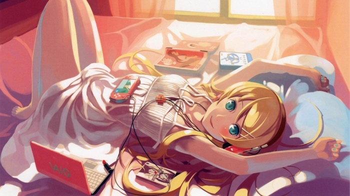 legs, anime girls, painted nails, white dress, lying down, console, VAIO, headphones, consoles, laptop, blue eyes, legs together, dress