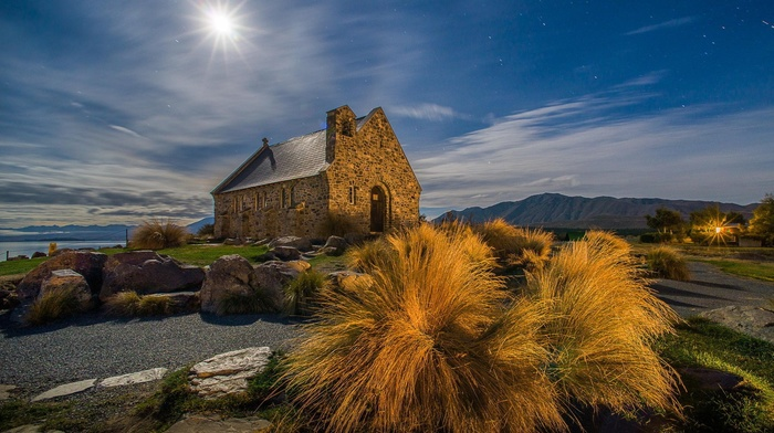 stars, landscape, moon rays, plants, path, old building, nature, mountain, night, hill, stones, clouds, house, rock, shadow, architecture, long exposure