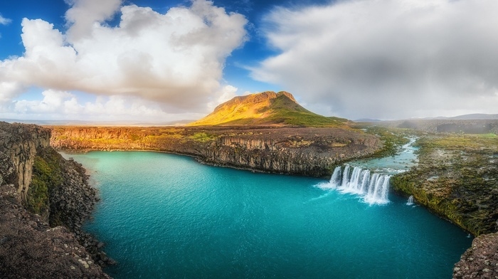 clouds, river, Iceland, hill, water, waterfall, summer, cliff, landscape, panoramas, nature
