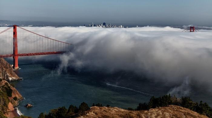 san francisco, USA, city, golden gate bridge, bridge, cityscape, clouds