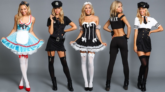 model, sailors, Alexis Ren, high heels, smiling, looking at viewer, blonde, stiletto, photo manipulation, SWAT, short skirt, costumes, police, girl, stockings, ass, long hair, cosplay