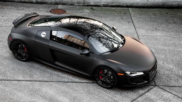 audi r8, Audi, matte black, car