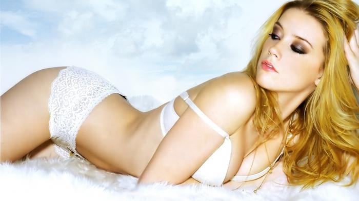girl, lying down, open mouth, Amber Heard, blonde, model, panties, lingerie, makeup, actress, long hair, bra