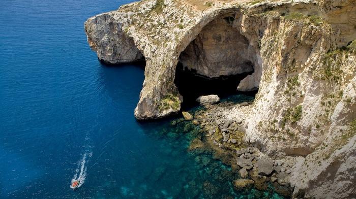 beach, water, cliff, cave, boat, blue, island, sea, nature, coast, landscape, Malta