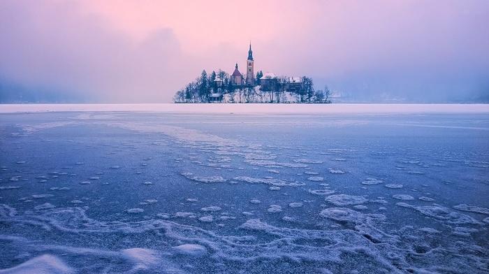 nature, Slovenia, trees, Lake Bled, landscape, mist, ice, winter, island, frost, lake, church