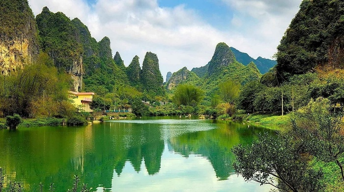 China, shrubs, cliff, water, limestone, mountain, forest, nature, reflection, landscape, trees, lake