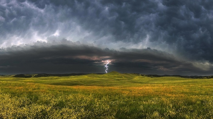 lightning, storm, landscape, nature, clouds, field