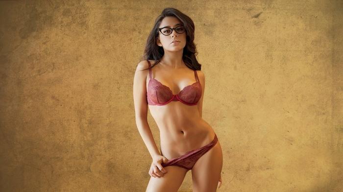Jass Reyes, panties, brunette, lingerie, glasses, girl, bra