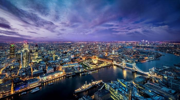 cityscape, night, river, bridge, London Bridge, city, River Thames, England, London