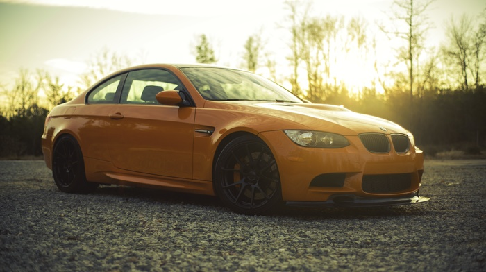 BMW, orange, car