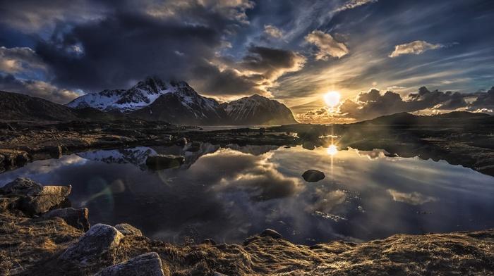 Norway, snowy peak, mountain, landscape, clouds, nature, Lofoten, water, lake, sunset