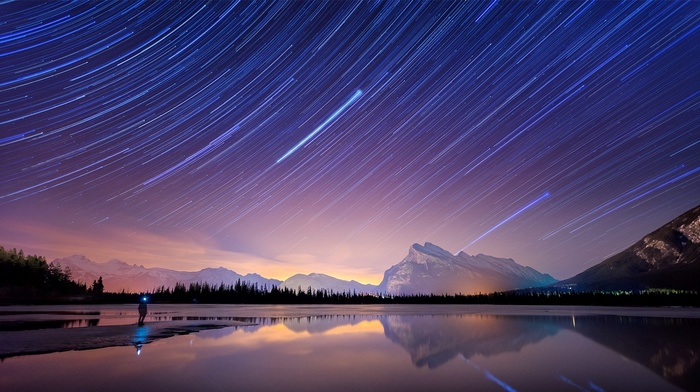 nature, water, long exposure, snowy peak, landscape, banff national park, mountain, lake, Canada, starry night, reflection