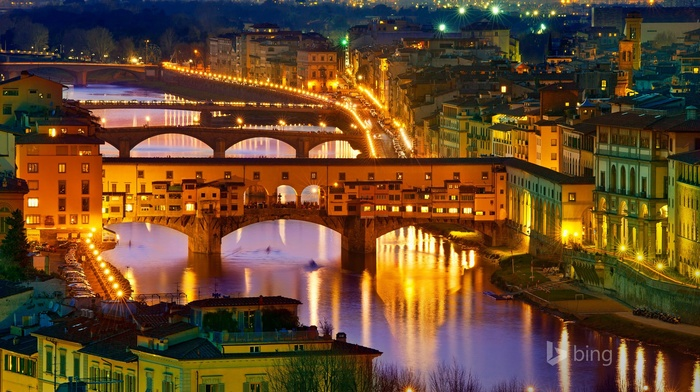 cityscape, river, lights, city, Florence, Italy, bridge