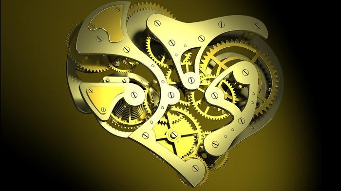 digital art, gears, screw, CGI, clockworks, minimalism, hearts, clocks