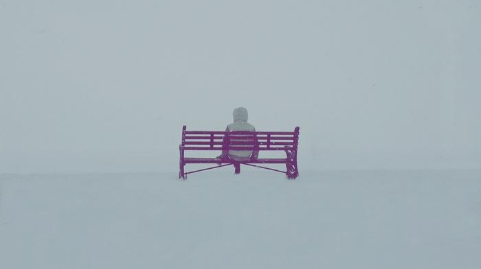 people, bench, snow, winter, landscape