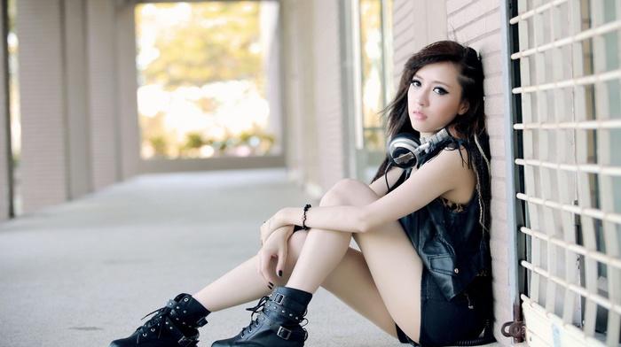 Asian, model, headphones, girl, walls, Black clothes, music